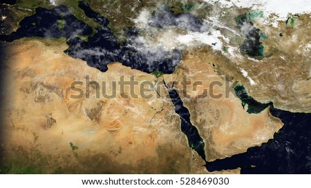 Middle East & North Africa Satellite Map Composition (Elements of this image furnished by NASA)