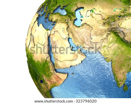 Middle East on highly detailed planet Earth with embossed continents and country borders. Elements of this image furnished by NASA. - stock photo