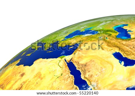 Middle East on realistic globe - stock photo