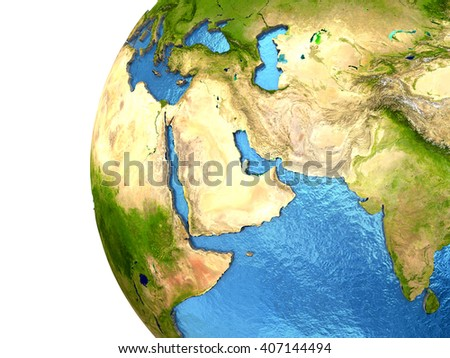 Middle East region on detailed model of planet Earth with continents lifted above blue ocean waters. 3D Illustration. Elements of this image furnished by NASA. - stock photo