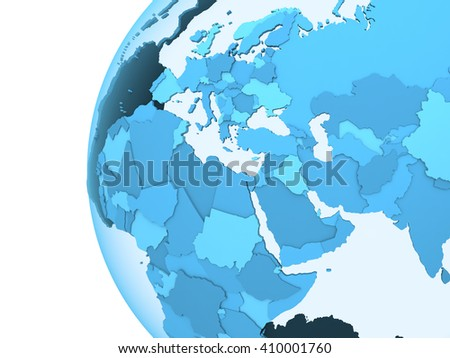 Middle East region on translucent model of planet Earth with visible continents blue shaded countries. 3D rendering. - stock photo