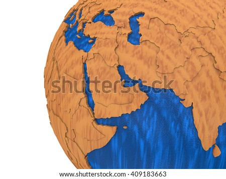 Middle East region on wooden model of planet Earth with embossed continents and visible country borders. 3D rendering.