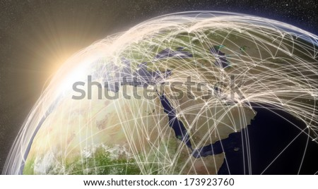 Middle East region with network representing major air traffic routes. Elements of this image furnished by NASA. - stock photo