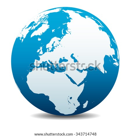 Middle East, Russia, Europe, and Africa, Global World - Raster Version - stock photo