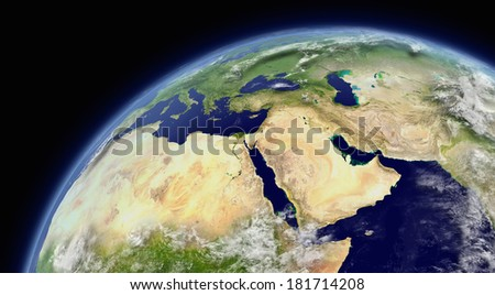 Middle East viewed from space with atmosphere and clouds. Elements of this image furnished by NASA. - stock photo