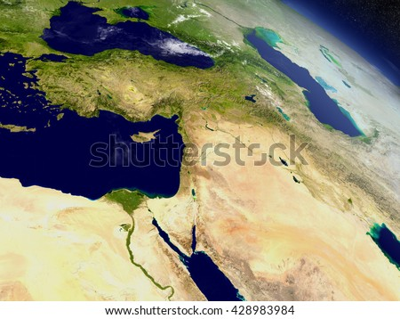Middle East with surrounding region as seen from Earth's orbit in space. 3D illustration with highly detailed planet surface and clouds in the atmosphere. Elements of this image furnished by NASA. - stock photo