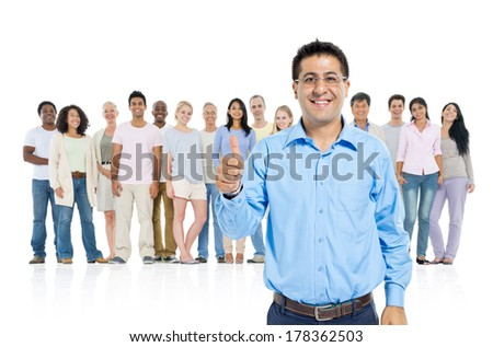 Middle Eastern Man in Front of a Crowd