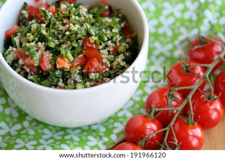 Middle Eastern salad Tabbouleh - stock photo