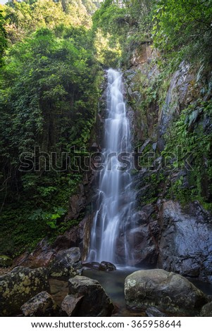 Middle Fall of the Ng Tung Chai Waterfalls at the New Territories in Hong Kong, China. - stock photo