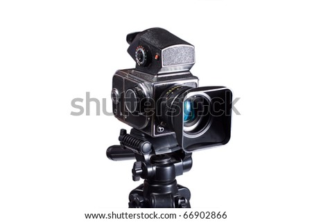 Middle-format camera on tripod isolated on white - stock photo