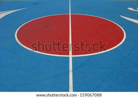 Middle of the basketball court.part 1 - stock photo