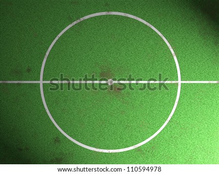 Middle of the dirt football field and spotlight. - stock photo