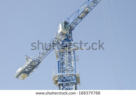 Middle point of crane Close up view of a very big construction crane  - stock photo