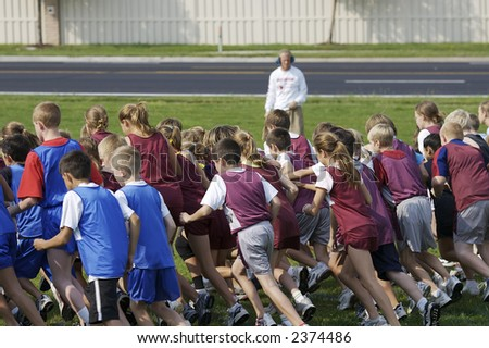 Middle school cross country meet - stock photo