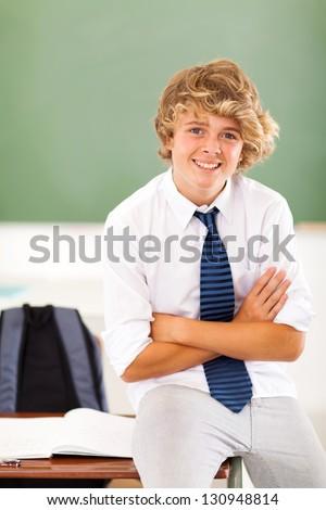 High School Student Sitting At Desk