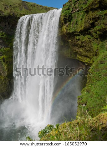 Middle view of skogafoss waterfall on the South of Iceland near the town Skogar - stock photo