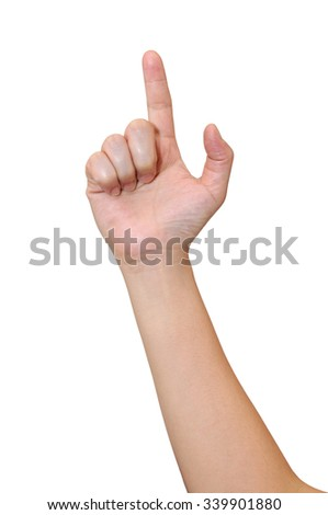 Middle woman hand signs isolate on white background, with clipping path.