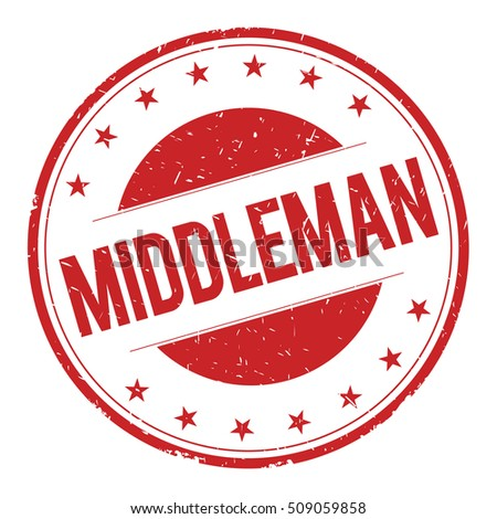 MIDDLEMAN stamp sign text word logo red.