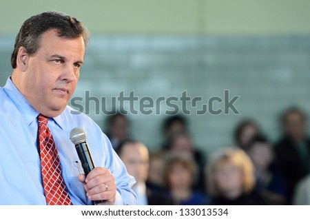 MIDDLESEX BOROUGH,NJ-MARCH 26:New Jersey Governor Chris Christie continued his 104th town hall meeting held at Our Lady of Mount Virgin Parish Center located in Middlesex Borough,NJ,on March 26,2013. - stock photo