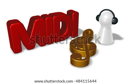 midi tag, clef symbol and pawn with headphones - 3d rendering