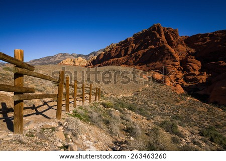 Midmorning at the Red Rock Canyon Conservation Area near Las Vegas, Nevada.  - stock photo