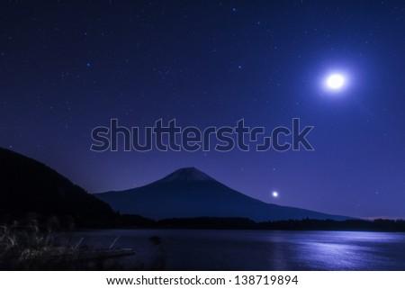 Midnight and Mt.Fuji - stock photo