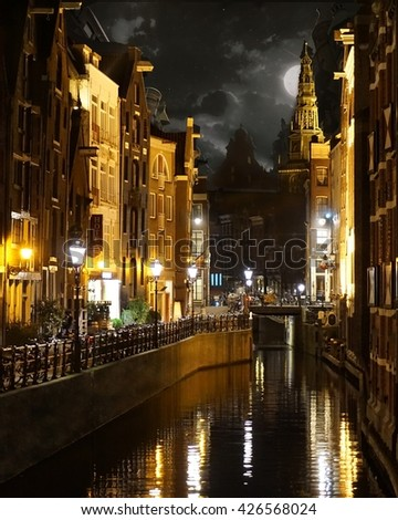 midnight canal view in amsterdam
