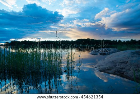 Midnight light on the Swedish east coast after the sunset - stock photo