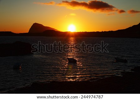 Midnight sun in Lofoten Islands, Norway