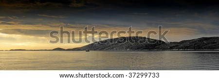Midnight sun north of the polar circle, Bodo, Norway - stock photo