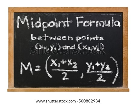 Midpoint formula written in white chalk on a black chalkboard isolated on white