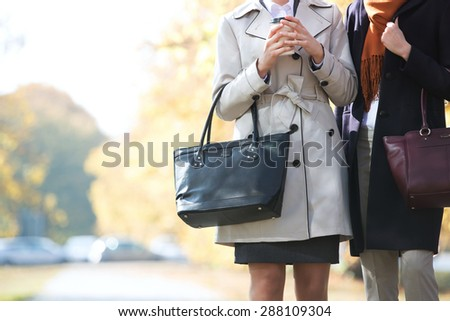 Midsection of businesswomen carrying purses at park - stock photo