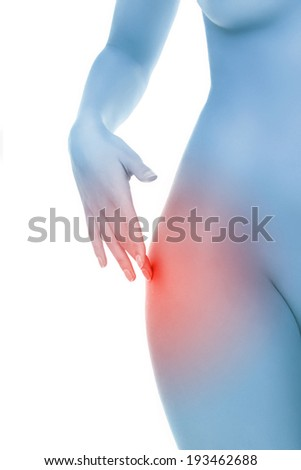 Midsection of female body with hip pain over white background - stock photo