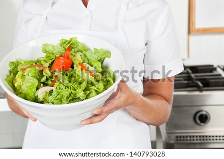 Midsection of female chef presenting healthy salad in commercial kitchen - stock photo
