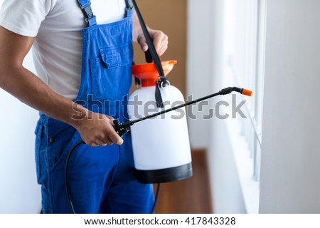 Midsection of pest control worker with sprayer standing at home - stock photo