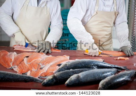 Midsection of workers slicing fishes at table - stock photo