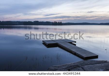 Midsummer night landscape from finland - stock photo
