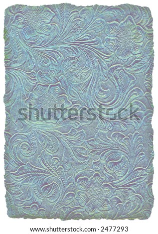 Midsummer's Night Embossed Floral Parchment - stock photo