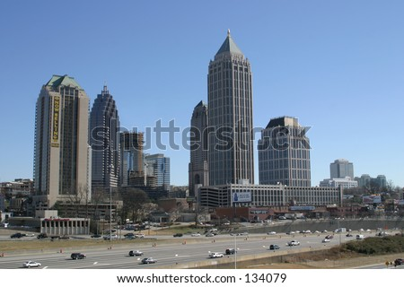 Midtown Atlanta, Georgia Skyline next to the I75 I85 Connector - stock photo