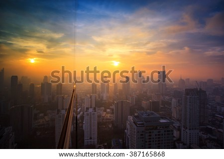 Midtown city in Bangkok sunset time