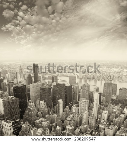 Midtown Manhattan aerial view, NYC.
