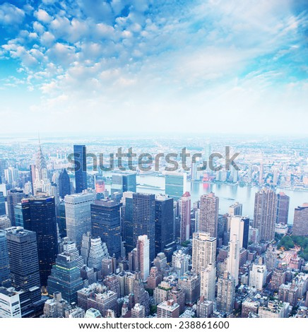 Midtown Manhattan aerial view, NYC. - stock photo