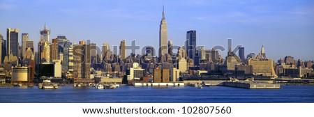 Midtown Manhattan from New Jersey - stock photo