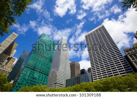 Midtown Manhattan highrise buildings as seen from Bryant Park, New York - stock photo