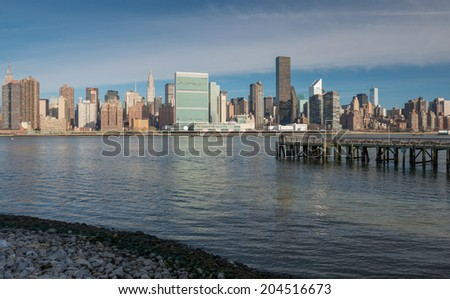 Midtown Manhattan Skyline as seen from Gantry Park Plaza in Queens, New York