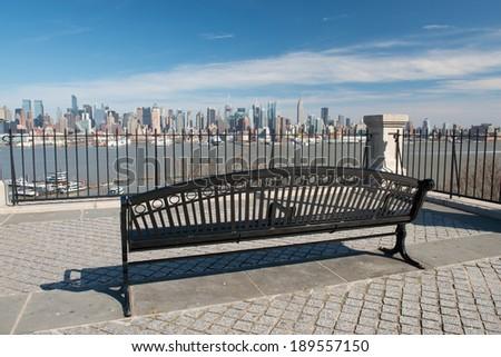 Midtown Manhattan skyline as seen from Hamilton park in Hoboken, New Jersey - stock photo