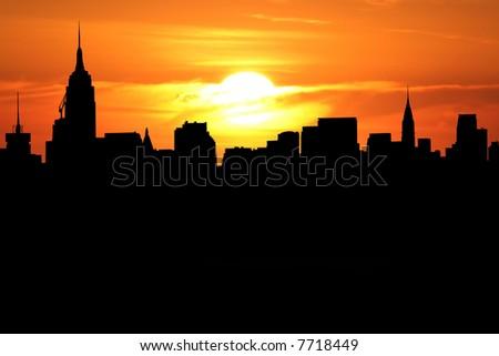Midtown Manhattan skyline at sunset with beautiful sky illustration - stock photo