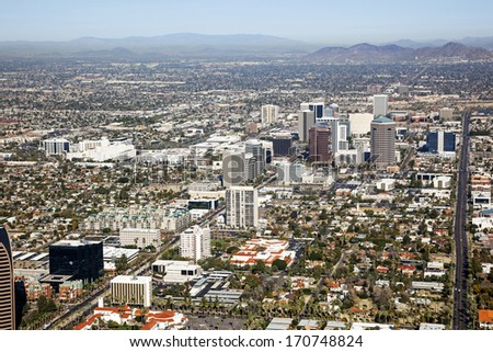 Midtown Skyline of Phoenix, Arizona looking to the northwest - stock photo
