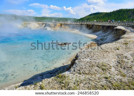 Midway Geyser Basin in Yellowstone National Park, Wyoming - stock photo
