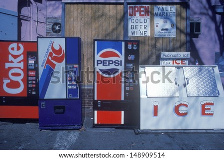 MIDWEST - CIRCA 1980's: Miscellaneous soda machine signs - stock photo